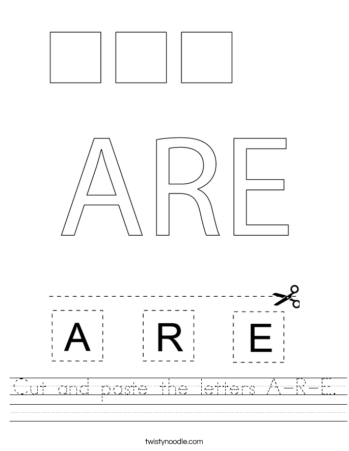 Cut and paste the letters A-R-E. Worksheet