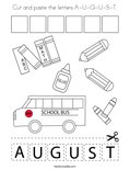 Cut and paste the letters A-U-G-U-S-T. Coloring Page