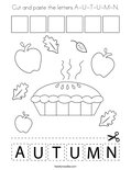 Cut and paste the letters A-U-T-U-M-N. Coloring Page