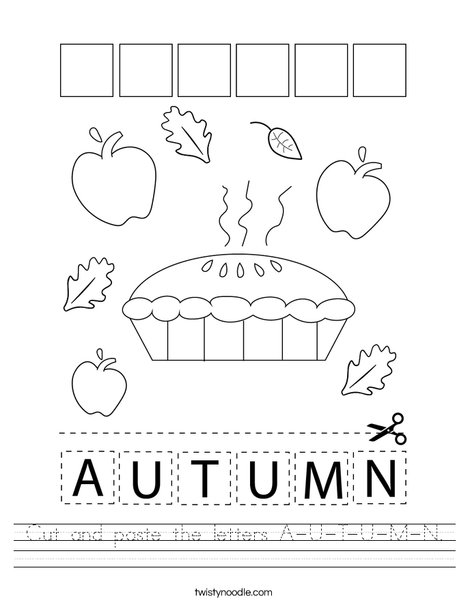 Cut and paste the letters A-U-T-U-M-N. Worksheet