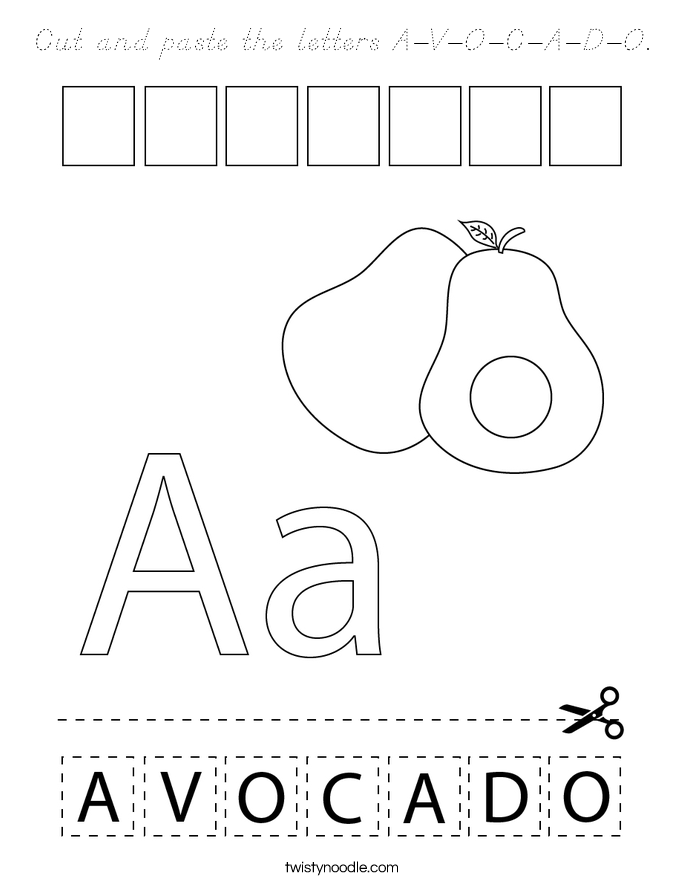 Cut and paste the letters A-V-O-C-A-D-O. Coloring Page