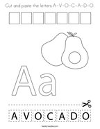 Cut and paste the letters A-V-O-C-A-D-O Coloring Page