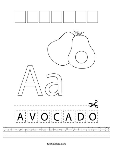 Cut and paste the letters A-V-O-C-A-D-O. Worksheet