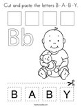 Cut and paste the letters B-A-B-Y. Coloring Page
