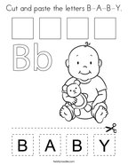 Cut and paste the letters B-A-B-Y Coloring Page