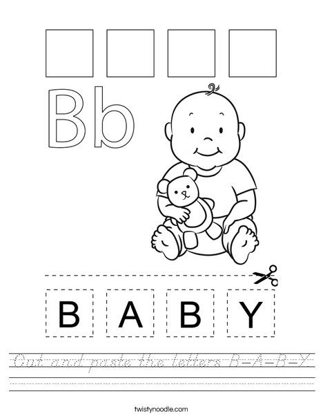 Cut and paste the letters B-A-B-Y. Worksheet