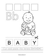 Cut and paste the letters B-A-B-Y Handwriting Sheet