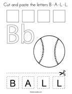 Cut and paste the letters B-A-L-L Coloring Page