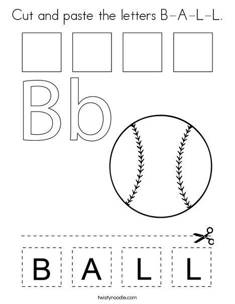 Cut and paste the letters B-A-L-L Coloring Page - Twisty Noodle