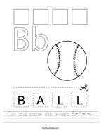 Cut and paste the letters B-A-L-L Handwriting Sheet