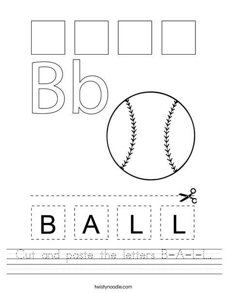 Cut and paste the letters B-A-L-L. Worksheet