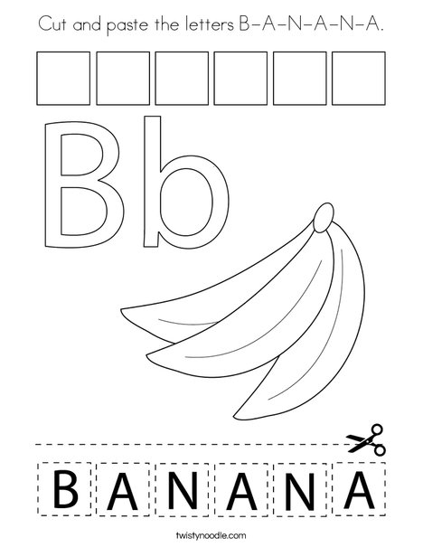Cut and paste the letters B-A-N-A-N-A. Coloring Page
