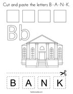 Cut and paste the letters B-A-N-K Coloring Page