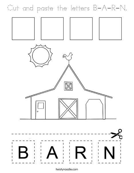 Cut and paste the letters B-A-R-N. Coloring Page