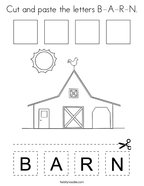 Cut and paste the letters B-A-R-N Coloring Page
