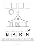 Cut and paste the letters B-A-R-N Handwriting Sheet