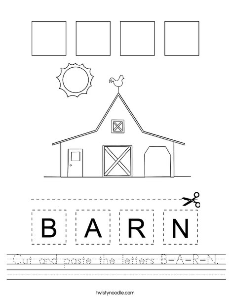 Cut and paste the letters B-A-R-N. Worksheet