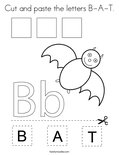 Cut and paste the letters B-A-T. Coloring Page