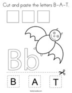 Cut and paste the letters B-A-T Coloring Page