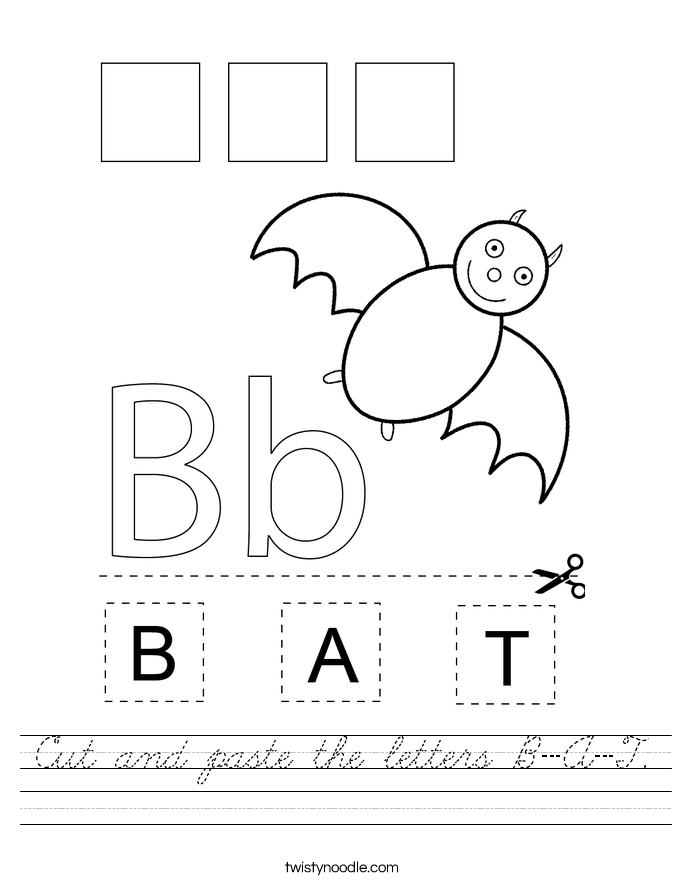 Cut and paste the letters B-A-T. Worksheet