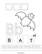 Cut and paste the letters B-A-T Handwriting Sheet