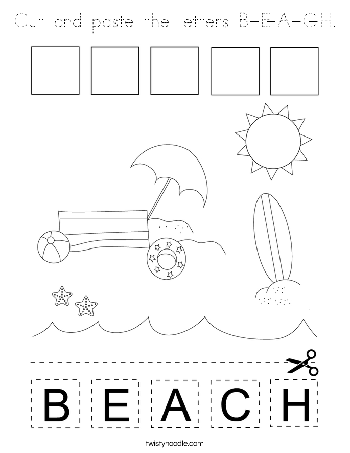 Cut and paste the letters B-E-A-C-H. Coloring Page