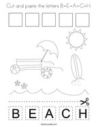 Cut and paste the letters B-E-A-C-H Coloring Page