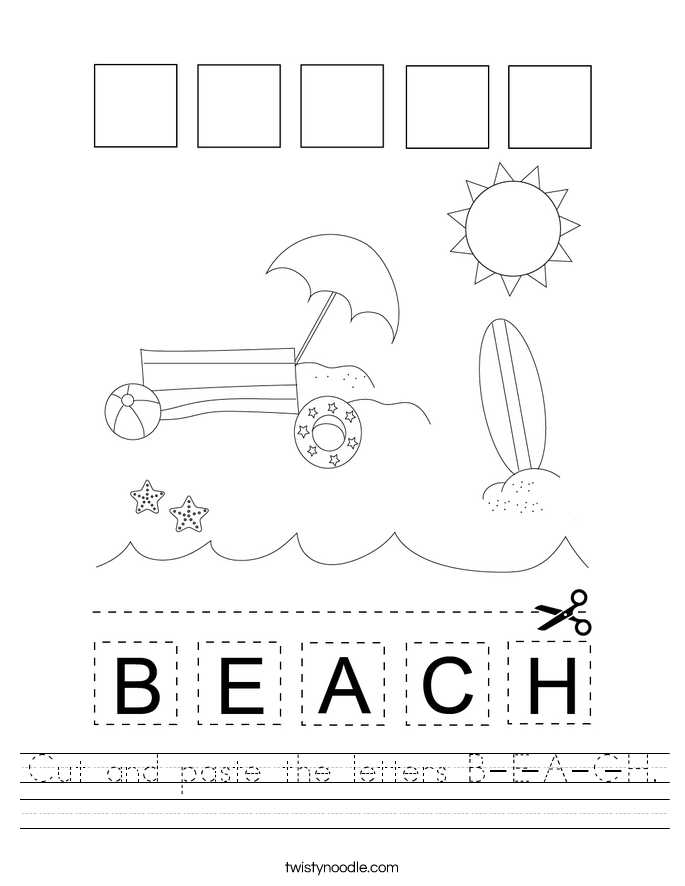Cut and paste the letters B-E-A-C-H. Worksheet
