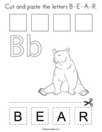 Cut and paste the letters B-E-A-R Coloring Page
