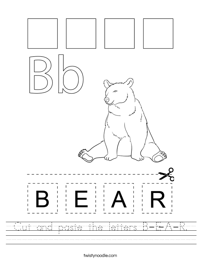 Cut and paste the letters B-E-A-R. Worksheet
