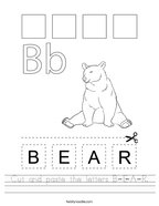 Cut and paste the letters B-E-A-R Handwriting Sheet