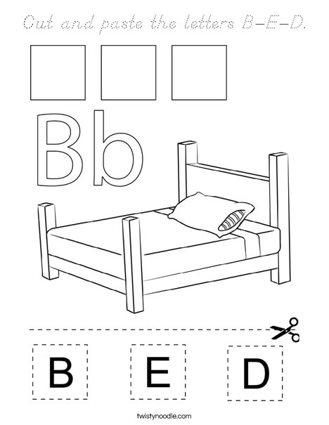 Cut and paste the letters B-E-D. Coloring Page