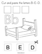 Cut and paste the letters B-E-D Coloring Page