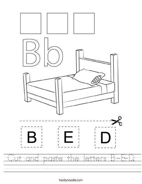 Cut and paste the letters B-E-D. Worksheet