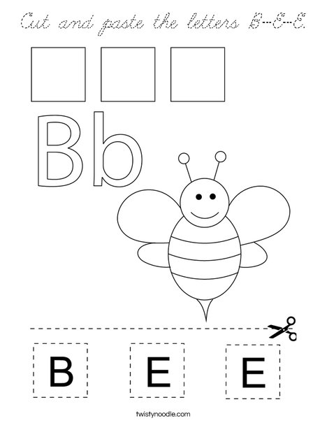 Cut and paste the letters B-E-E. Coloring Page