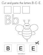Cut and paste the letters B-E-E Coloring Page