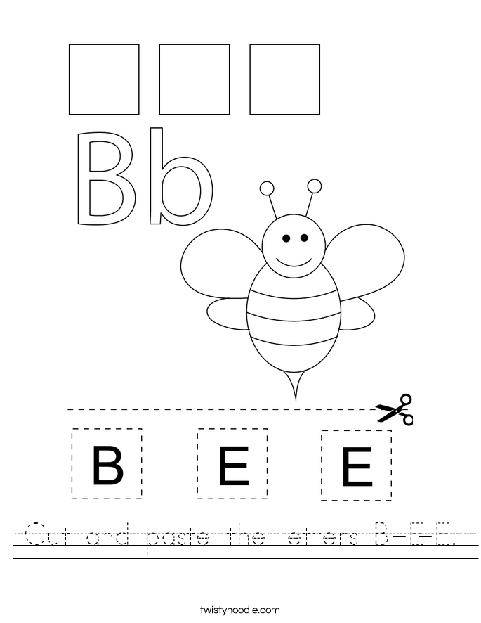 Cut and paste the letters B-E-E. Worksheet