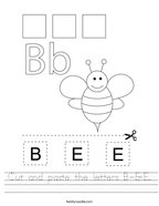 Cut and paste the letters B-E-E Handwriting Sheet