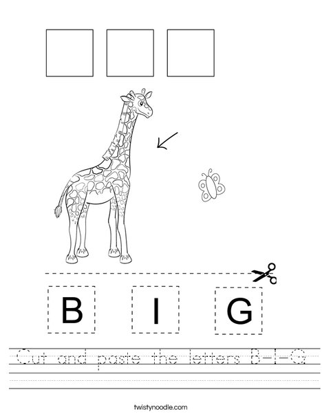Cut and paste the letters B-I-G. Worksheet