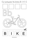 Cut and paste the letters B-I-K-E. Coloring Page