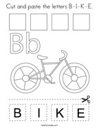Cut and paste the letters B-I-K-E Coloring Page