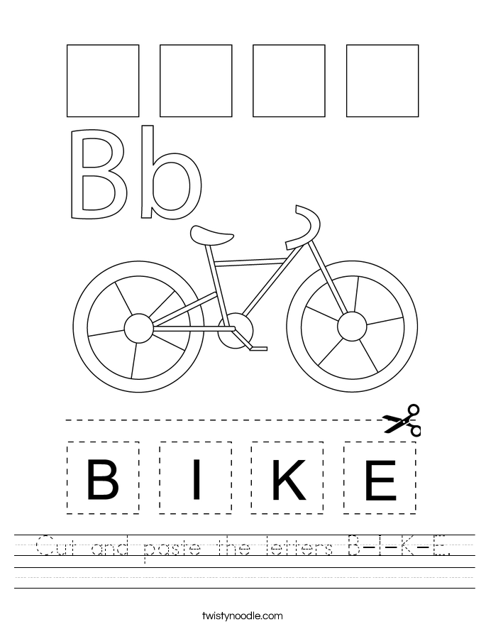 Cut and paste the letters B-I-K-E. Worksheet