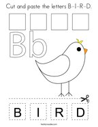 Cut and paste the letters B-I-R-D Coloring Page