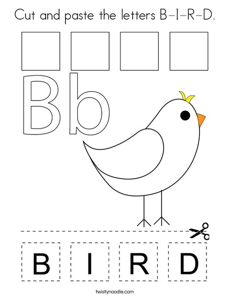 Cut and paste the letters B-I-R-D. Coloring Page