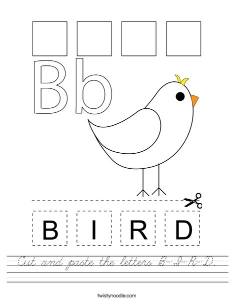 Cut and paste the letters B-I-R-D. Worksheet