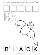 Cut and paste the letters B-L-A-C-K Coloring Page
