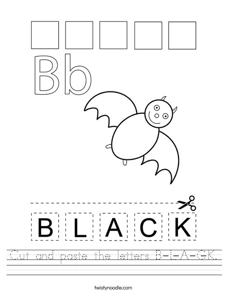 cut and paste the letters b l a c k worksheet twisty noodle. Black Bedroom Furniture Sets. Home Design Ideas