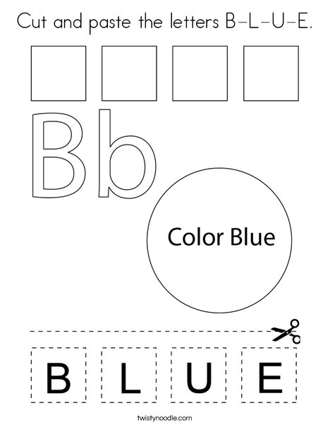 Cut and paste the letters B-L-U-E. Coloring Page