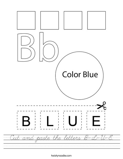 Cut and paste the letters B-L-U-E. Worksheet