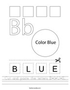 Cut and paste the letters B-L-U-E Handwriting Sheet